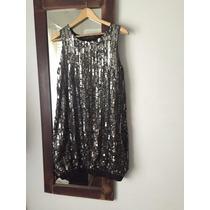 Vestido Zara De Paillette Talle M Negro Y Cobre. Sin Uso