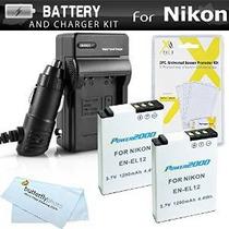 2 Batería Y Cargador Kit Para Nikon Coolpix S9900, S9500, P3