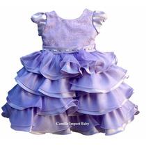 Vestido Festa Infantil Luxo Princesa Sofia Com Tiara
