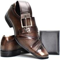 Sapato Social Masculino Couro Envernizado+cinto+carteira