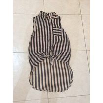 Blusa Shifon Transparente Rayada Nude Negro Wet Seal S