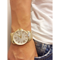 Relógio Masculino Luxo Ck Atlantis Dourado Original Calendar