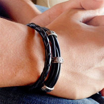 Pulseira Masculina Couro Legitimo Prata Bracelete Homem