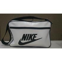 Bolsa Carteiro Nike Masculina Couro Sintetico Branca Preta