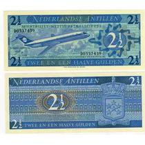 Billete Antilla Holandesa 2y1/2 Gulden Año 1970 Con Avion