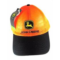 Boné John Deere Laranja Aba Preta Original Rede Peao Wear