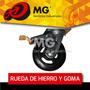 Rueda Mg Hierro Goma Base Giratoria Fija Carro Industria Mm