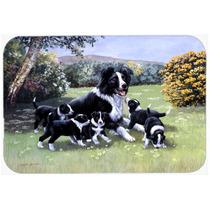 Los Cachorros Border Collie Con Momma Cocina O Baño Mat 20x