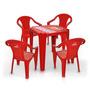 Kit 1 Mesa Brahma Plastica+4 Cadeiras C Braço Tramontina Bar