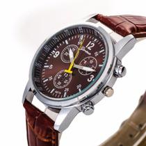 Relógio De Pulso Masculino Marrom Clássico Barato E Bonito