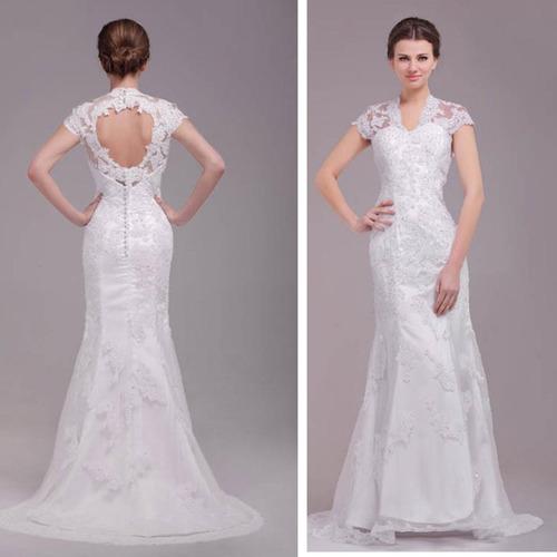 hermoso vestido de novia de boda encaje con escote espalda