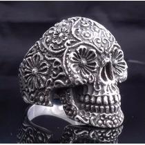 Anillo Cráneo De Plata Tamaño 22