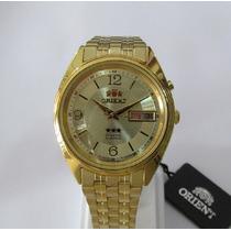 Relógio Orient Automático Masculino Folhado À Ouro Fem0401kc
