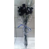 Ramo De La Flor De Halloween Todo Negro Rosas De Madera Cerr