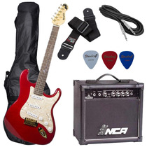 Kit Guitarra Dolphin St Rocket Vermelho Flame Top