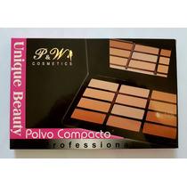 Paleta Pó Facial Nude P & W - Kit 12 Cores - Profissional