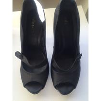 Sapato Scarpin Datelli Meia-pata Preto Em Couro
