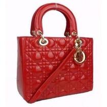 Bolsa Christian Dior Lady Di Vermelha Original 25 Cm Couro