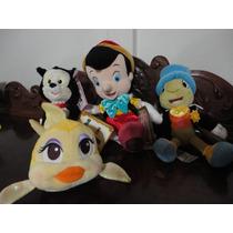Pinóquio Grilo Fígaro Cléo Conj. 4 Bonecos Originais Disney