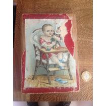 Caja De Madera Antigua Con Litografía De Niño Con Juguetes
