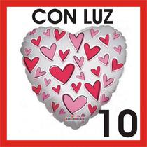 10 Globos Metálicos Amor Corazón 18 Con Luz Led 14 Febrero