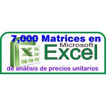 7000 Matrices De Obra En Excel Actualizado Oct. 2016+regal
