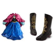 Set Vestido + Botas + Corona Frozen Anna 7-8 Y 9-10 Años