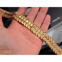 Pulseira Bracelete Masculino Dourado Banhado A Ouro 18kluxo