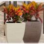 Matera Plastica Square H76 Cm Sandstone Decoración Jardín