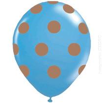 50 Unidades Balão Bexiga Decorada Nº10 Azul Bola Marrom Poa