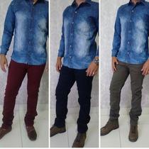 Calça Jeans Masculina Vinho, Caramelo, Azul, Verde, Colorida