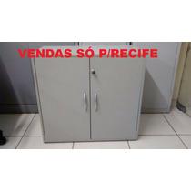 Armário De Madeira Baixo P/escritório Cinza (usado) - Obs: