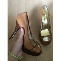 Zapatos Tacones Michael Kors Mk Piel Fina Placa Grande!!