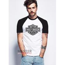 Camiseta Harley Davidson Cycles Raglan 100% Algodão