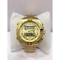 Relógio Masculino Marinus Dourado Ponteiros Com Digital