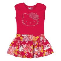 Vestido Infantil Vermelho Com Saia Rodada Estampada Com Baba
