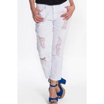 Calça Jeans Boyfriend Feminina Canal Destroyed Branca Rasgos