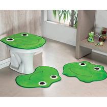 Jogo De Tapete Para Banheiro 03 Peças Formato Sapo