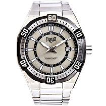 Relógio Masculino Everlast Prata Preto Aço Inoxidável Novo