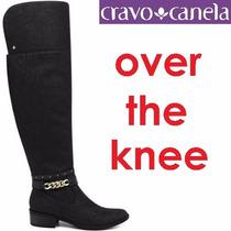 Bota Over The Knee Cravo E Canela Couro Acima Joelho 136810
