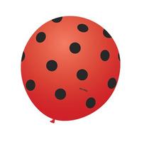Balão Joaninha Nº9 Vemelho Poá Preto - Bexiga De Bolinha 25u