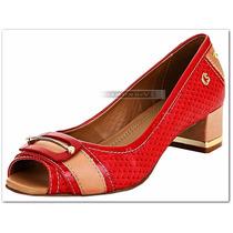 Sapato Peep Toe Carmen Steffens Couro Vermelho Bege Nº 38