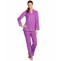 Brook Brothers Set Pijama Tunica Polka Dots Azul Talla M