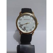 Relógio Feminino Com Borboletas Dourado Pulseira Preta