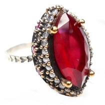 Hhy-anel Turquia Turco Prata 925 Cristal Rubi Zirconias