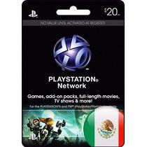 Tarjeta Gift Card Playstation Network $20 Usd Mexicana Ps4