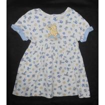The Disney Store! Vestido Blanco-azul, Classic Pooh 3-4 Años