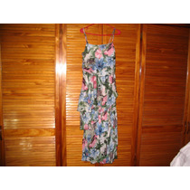 Vestido Solera Largo Organza Seda Volados Flores Como Nuevo