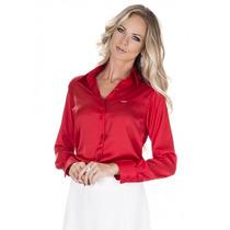 Blusa Para Reunião Vermelha Em Cetim Principessa Eliz