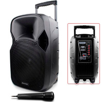Caixa Som Amplificada C/ Bateria 150w Mic Karaoke Mp3 Sp200